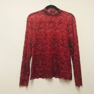 Apt.9 dark red lace sheer floral long sleeve top M